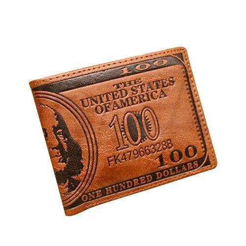OULII Cool Mens US Dollar Brieftasche PU Leder Kreditkarte Foto Halter Brieftasche Geldbörse (Dark Coffee)