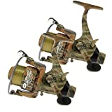 2 x Camo40 Carp Runner 3BB Fishing Reel with 12lb Line + Spare Spool NGT