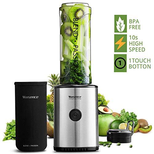 Willsence Mixer Standmixer Smoothie Maker, 23000 U/min High Power Mini Standmixer, 10s High Speed mit Tritan 570ML BPA-Freier Reiseflasche und 4 Edelstahlklingen für Obst und Smoothie, 300W
