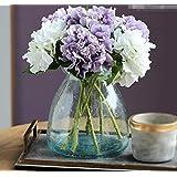 XPHOPOQ flores artificiales Blue Vidrio Jarrones flores Bouquet Artificial interiorhome restaurantes tabla y Purple Hortensia