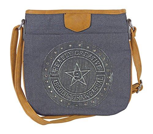 Canvas Tasche mit aufgenähtem und genieteten Emblem 3D Patches - Maße 27 x 28 cm - unisex Damen Herren Teenager Tasche Schwarz