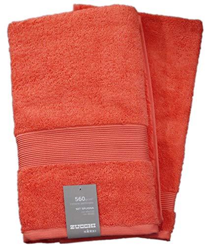 Set spugna coppia 2 pezzi 1+1 ospite 40 x 60 + asciugamano 60 x 110 zucchi solotuo asciugamani 100% spugna di puro cotone 560 gr/mq (corallo - 1923)
