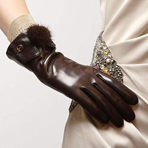 NMDD Damen Lederhandschuhe Balls Fashion Winter Handschuhe Arbeitshandschuhe (Farbe: Braun, Größe: M)