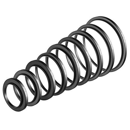 Neewer 9 Stück Step-Up Objektiv Filter Adapter Ringe Set, aus Premium-Eloxiertem Aluminium, beinhaltet: 37-49mm, 49-52mm, 52-55mm, 55-58mm, 58-62mm, 62-67mm, 67-72mm, 72-77mm, 77-82mm -