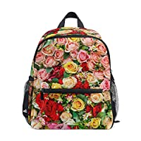 Small School Bag Rose Flowers Pattern Backpack for Girl Boy Children Mini Travel Daypack Primary Preschool Student Bookbag