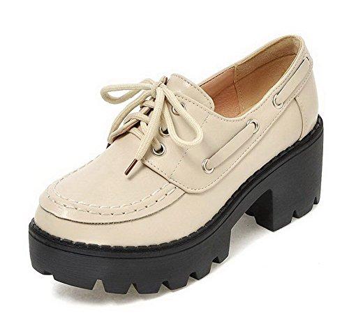 Légeres Talon à Matière Lacet Chaussures Correct Beige Femme AgooLar Souple Rond ICzpnXwXq