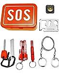OUTDOOR SAXX® - SOS Survival Notfall Tool Box | Taschen-Lampe Werkzeug Messer Kompass Säge Pfeife Schraubenschlüssel Öffner Fire Stick | 7-Teilig