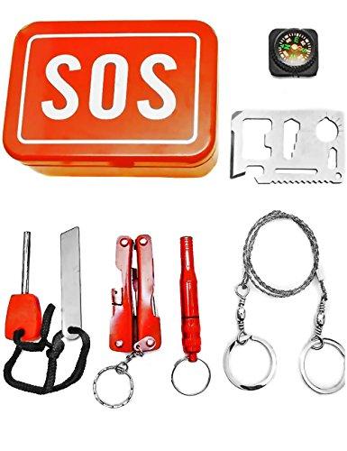 Preisvergleich Produktbild OUTDOOR SAXX® - SOS Survival Notfall Tool Box | Taschen-Lampe Werkzeug Messer Kompass Säge Pfeife Schraubenschlüssel Öffner Fire Stick | 7-Teilig