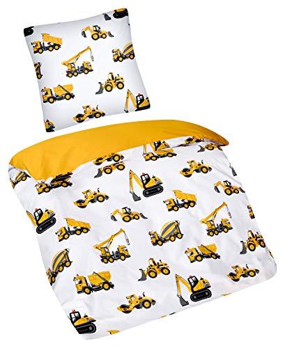 Aminata Kids - Kinder-Bettwäsche-Set 135-x-200 cm Bagger-Motiv BAU-Fahrzeuge Auto-s Betonmischer 100-% Baumwolle Baustelle Weiss gelb