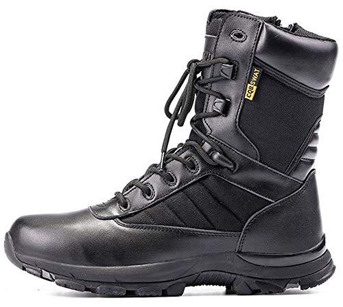 Stivali da combattimento caldi da uomo Stivali con cerniera Stivali da deserto Martin Stivali Scarpe da passeggio per il tempo libero all'aperto-black-EU41/US8.5-9/UK7.5-8