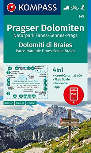 KOMPASS Wanderkarte Pragser Dolomiten, Naturpark Fanes-Sennes-Prags, Dolomiti di Braies, Parco Naturale Fanes-Senes-Braies: 4in1 Wanderkarte 1:25000 ... Skitouren. (KOMPASS-Wanderkarten, Band 145)