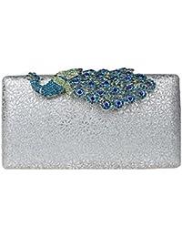KAXIDY Femmes Sac à Main Sac Pochette de Mariage Sacs Soirée Partie Mariage Luxe Peacock Cristal Boucle