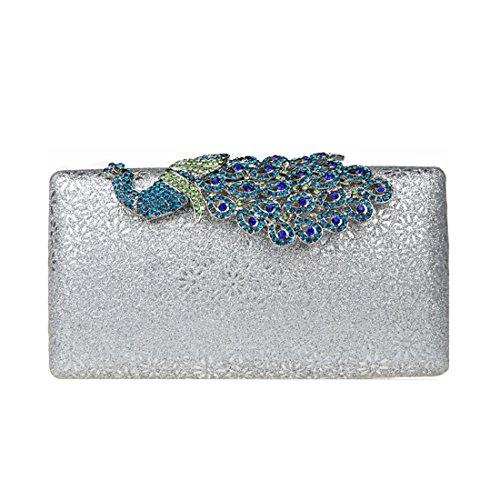 KAXIDY Damen Handtasche Clutch Glänzende Pfau-Kristall Buckle Damentasche Tasche Abend Handtasche Abendtasche (Silber)