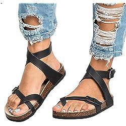 Mujer Romano Sandalias Plano Zapatos Gladiador Clip Toe Sandalias, Chancletas Hebilla Romano Peep Toe Elegante Bohemia Playa Sandalias Negro 38 Juleya