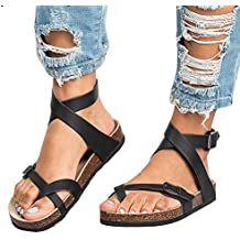 9450dea117e Mujer Romano Sandalias Plano Zapatos Gladiador Clip Toe Sandalias