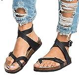 Mujer Romano Sandalias Plano Zapatos Gladiador Clip Toe Sandalias