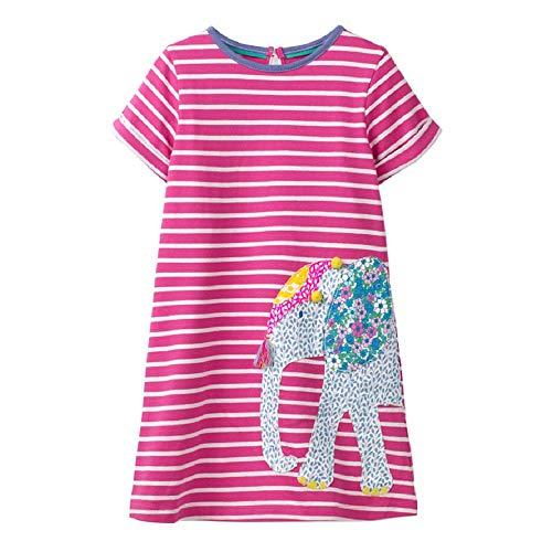 OHBABYKA Cute Baby Girls Casual Baumwolle Tiere gedruckt Streifen Kurzarm Playwear Kleid (5T, GDS442) (Boutique Kid Kleidung)