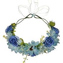 OKBO Diadema de flor guirnalda Floral corona guirnalda para fiesta de boda Featival, Venda de Flor Boho Corona de Cabeza de Pelo Guirnalda de Novias de Boda Decoración de Pelo de Mujer NiñaLago azul