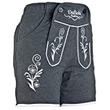 DATSCHI Kurze Damen Lederhosen Jogginghose Bestickt, 3X große Hosentaschen - flauschig weich - Damen Trachten-Hose für Oktoberfest oder Alltag - Bayrische Hose in Lederhosenoptik (M, Dunkelgrau)