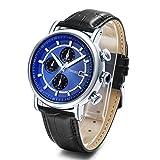 Time100 Multifunktionale Lederarmband Uhr Quarzwerk Armbanduhr Männer Mode Wasserdichte Runde Armbanduhr(Blau,61.5g)