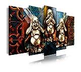 Dekoarte 253 - Cuadro moderno en lienzo de 5 piezas, estilo zen-feng shui 3 budas,...