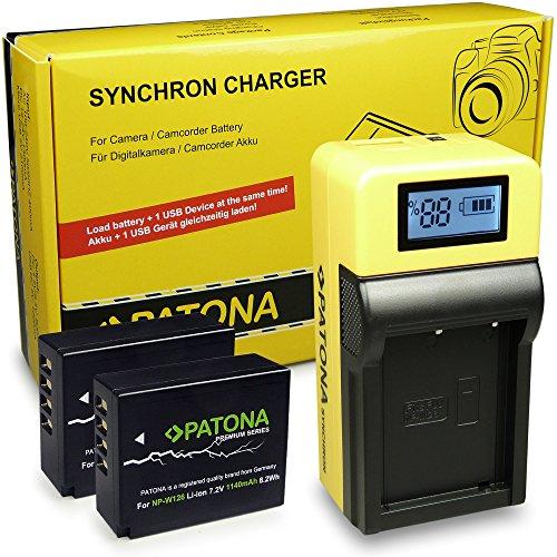 Galleria fotografica LCD Caricabatteria + 2x Premium Batteria NP-W126 per Fuji FinePix HS30EXR | HS33EXR | HS50EXR | Fuji X-A1 |X-A2 | X-E1 | X-E2 | X-M1 | X-Pro1 | X-T1 | X-T10