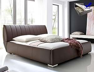 Double luanos cuir synthétique marron-lit 180 x 200 cm avec sommier à lattes réglable et rabattable designerbett-lit 2 places avec coffre de lit