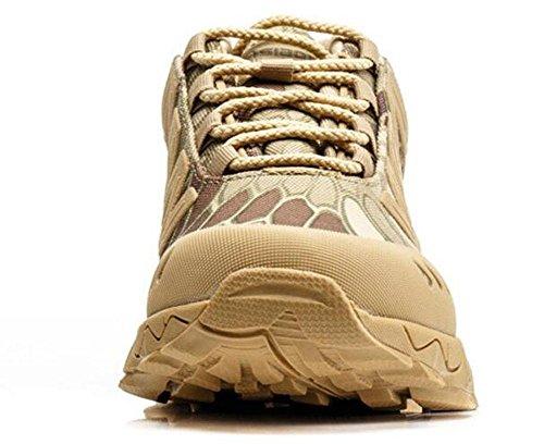 GLSHI Männer Wüstenstiefel Low Top Hilfe Kampfstiefel Taktische Stiefel Fan Wüstenstiefel Outdoor Wanderschuhe python sand
