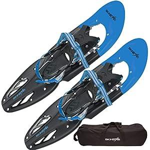 SkinStar Schneeschuh 25 INCH Schneeschuhwandern Schneeschuhe bis 100 kg inklusive Tragetasche – wahlweise mit oder ohne Stöcke