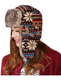 Baymate Unisexo Sombrero de Invierno Copo de Nieve Patrón Gorro con Orejeras para Esquí Ciclismo