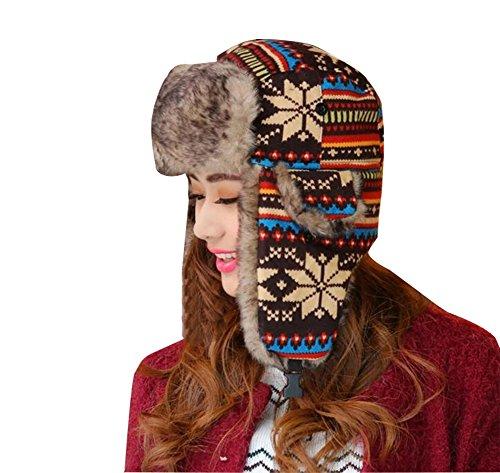Baymate Unisex Weihnachten Winter Warmer Mütze Hut Ohrenklappe Fliegermützen Künstlich Pelzmütze Braun Kopfumfang (56-60CM)