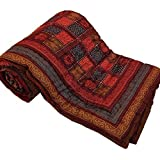 Shopnetix Pure Cotton Jaipuri Razai/Rajai Traditional Sanganeri Print Double Bed Quilt Blanket - 90 Inch X 103 Inch, Multi-Color,