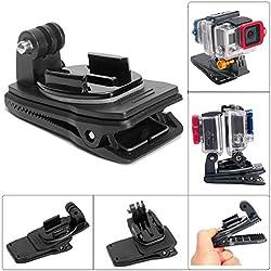 Fantaseal® Montura 360 °Giratorio de dos cámaras GoPro Clip Monte de Gopro Montura de mochila para Gopro Hero 5 / Hero 5 Sessión / Hero 4 / Session / 3+ / 3, SJCAM SJ6000 / SJ5000 / SJ4000 / Garmin Virb XE y más Cámaras de Acción