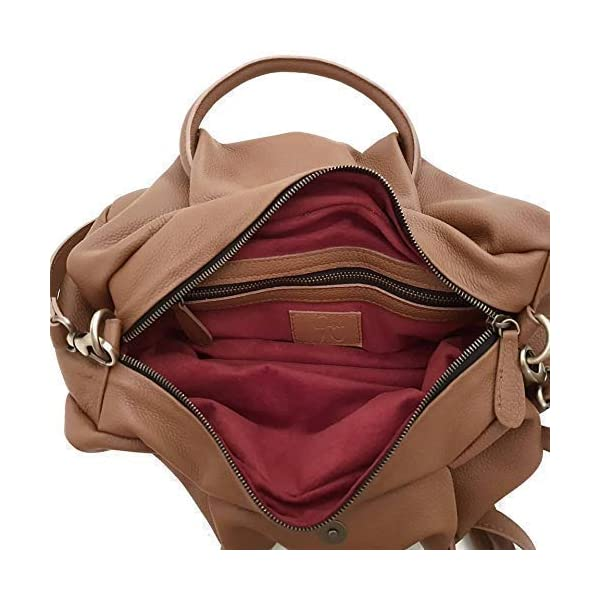 Leather tan round handle shoulder bag for women's - handmade-bags