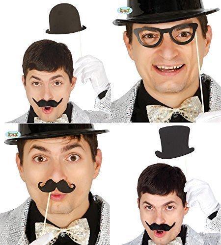 Herren Damen Satz von 8 1920s Zylinder Melone Brillen Moustache Hochzeit Fotokabine Fotokabine Requisiten Kostüm Kleid Outfit (Für Outfits 1920 Herren)