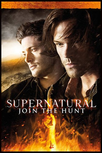 Close Up Supernatural Poster Fire (93x62 cm) gerahmt in: Rahmen schwarz
