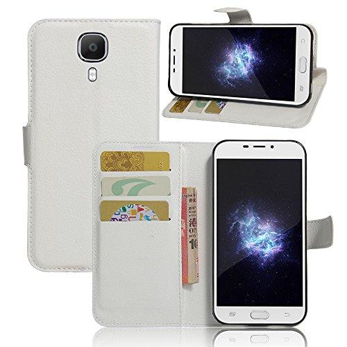 WolinTek Doogee X9 Pro Kunstleder Tasche im Bookstyle, Ledertasche Handyhülle Etui Flip Wallet Case Klapphülle mit Kartenfach und Ständer Lederhülle Hülle für Doogee X9 Pro, weiß