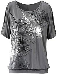 Imixcity Women Off Shoulder Feather Short Sleeve Tops Blouse Jumper T-shirt