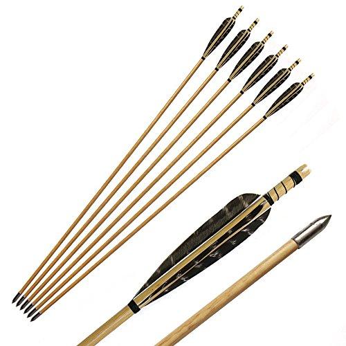 Toparchery Pfeil und Bogen Set Holzpfeile 6 Pfeile für Recurvebogen, Langbogen oder Compoundbogen mit Bullet Pfeilspitzen und 5 Zoll Naturfedern Pfeile für Bogenschießen -