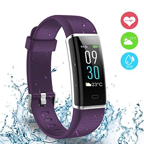 Reloj deportivo, Ausun 130 Plus Pulsera Inteligente Pantalla Color Monitores de actividad con Pulsómetros Reloj Inteligente Pulsera Actividad Brillo de la Pantalla Ajustable Impermeable IP68 con 14 Modos de Ejercicio Monitor para iOS y Android, Morado
