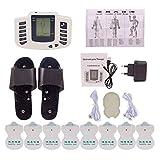 TENS Massager - Toner Portátil para Músculos Abdominales - Masajeador de Acupuntura con Electrodos de 16pcs - Fisioterapia de Pulso Corporal Digital de Doble Canal - Hombros, Cintura, Piernas,1set