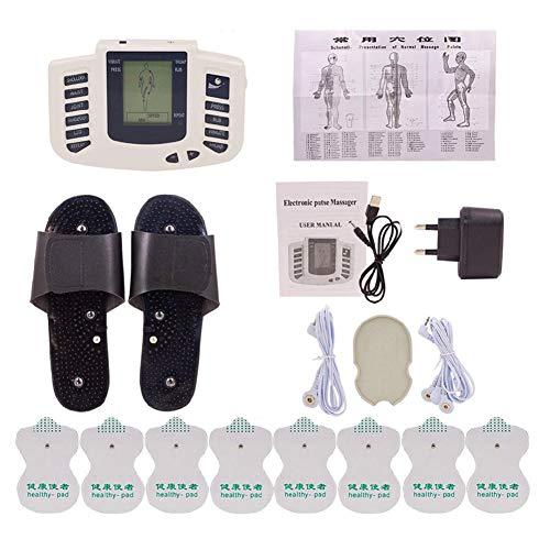 LDPH TENS Massager - Toner Portátil para Músculos Abdominales - Masajeador de Acupuntura con Electrodos de 16pcs - Fisioterapia de Pulso Corporal Digital de Doble Canal - Hombros, Cintura, Piernas