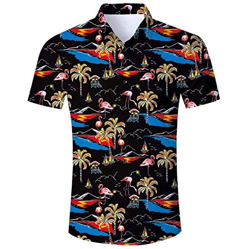 aiian Beach Shirt Kurzarm Hemd Mode Plus Größe Schwarz ()