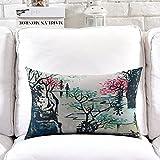 POPRY Nuovo Cinese Classico Paesaggio di Inchiostro Illustrazione Cuscino Cotone Cuscino Divano Cuscino Decorata Sala da tè,30x50cm-K