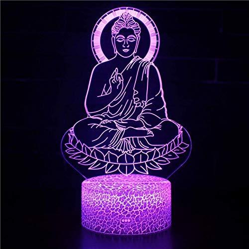 YEXINR 3D Lampe Illusion,7 Couleurs Tactile,(Télécommande) Optiques Illusions Lampe, Veilleuse Led 3D Lampe, Art Déco Enfant Lumière Bouddha Assis (Touchez)
