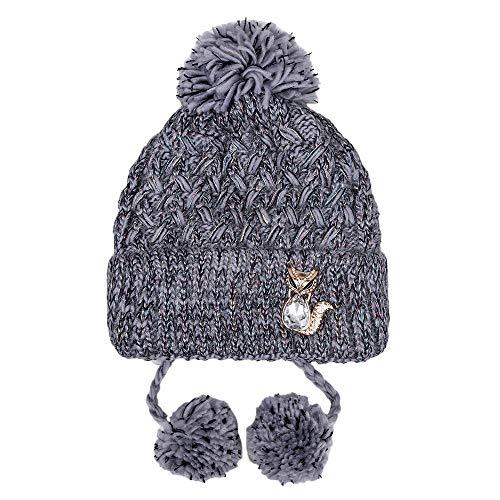 Damen Warme Hairball Nähte Farbe Hut Kappen Mädchen Winter Warme Gestrickte Beanie Hut Umsponnene Buchstabe Häkeln Ski Hut Kappen Kopfbedeckung (Gray)