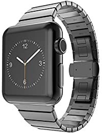 CoverKingz Apple Watch Armband 42/44mm Edelstahl Band Schwarz für Series 4/3/2/1 Ersatzarmband Stainless Steel Bracelet Uhrenarmband Exklusiv Metall-Armband