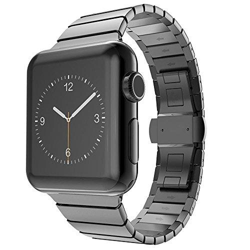 CoverKingz Apple Watch Armband Edelstahl 38mm für Series 1/2/3 Ersatzarmband Stainless Steel Bracelet Uhrenarmband Exklusiv Metall-Armband Schwarz