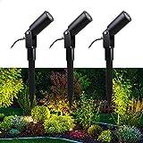 VBLED 3er-Set 3W Gartenstrahler mit wechselbarem LED Leuchtmittel warmweiß 12V AC/DC IP68 3000K 3x200 Lumen