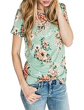 Camisetas Manga Corta Mujer Anchas Verano Personalizadas Camisas Floral Estampadas de Mujer Camiseta Casual Señora...